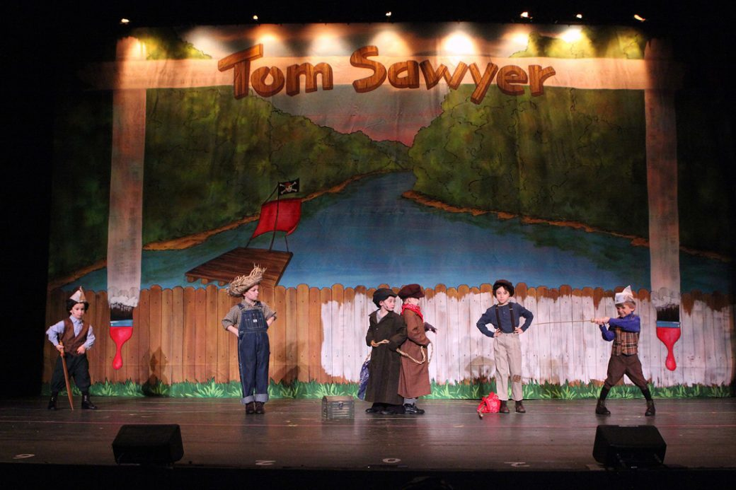 Random Farms Kids Theatre, Tom Sawyer Production Shot, 2013, designed by Betsy Feeny