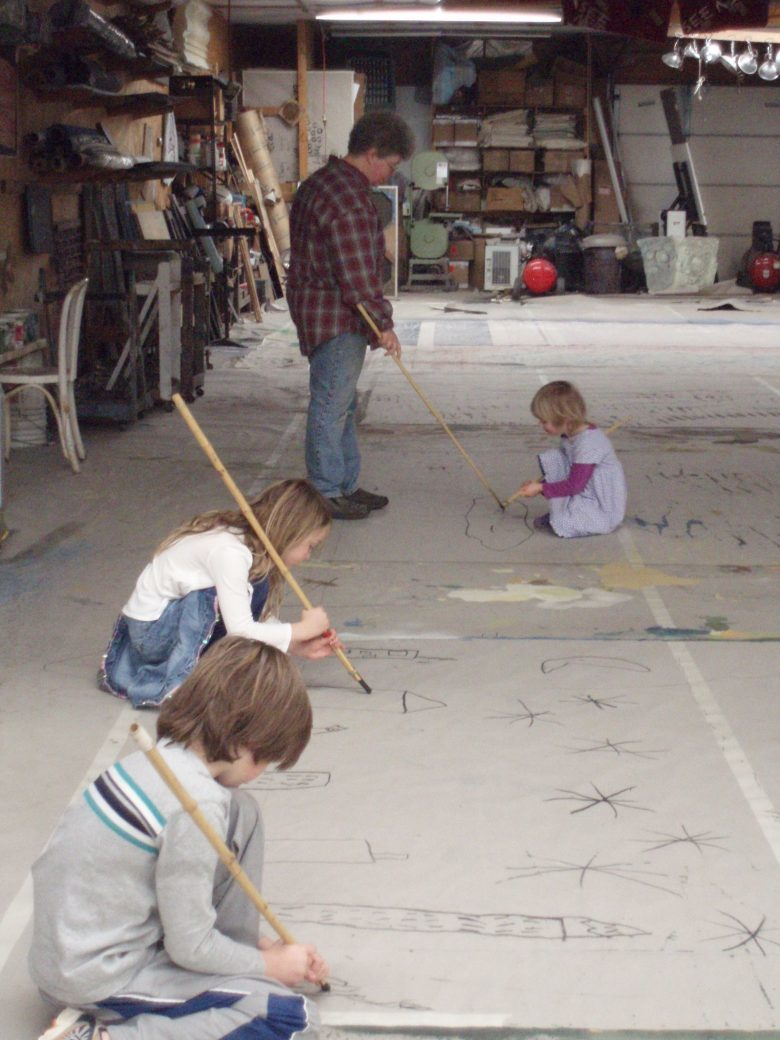 Future Scenic Artists? Caleb, Isabella and Gabrielle