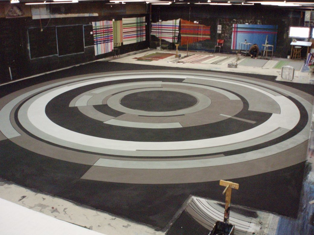 Concentric groundcloth , Painted by the class of 2015