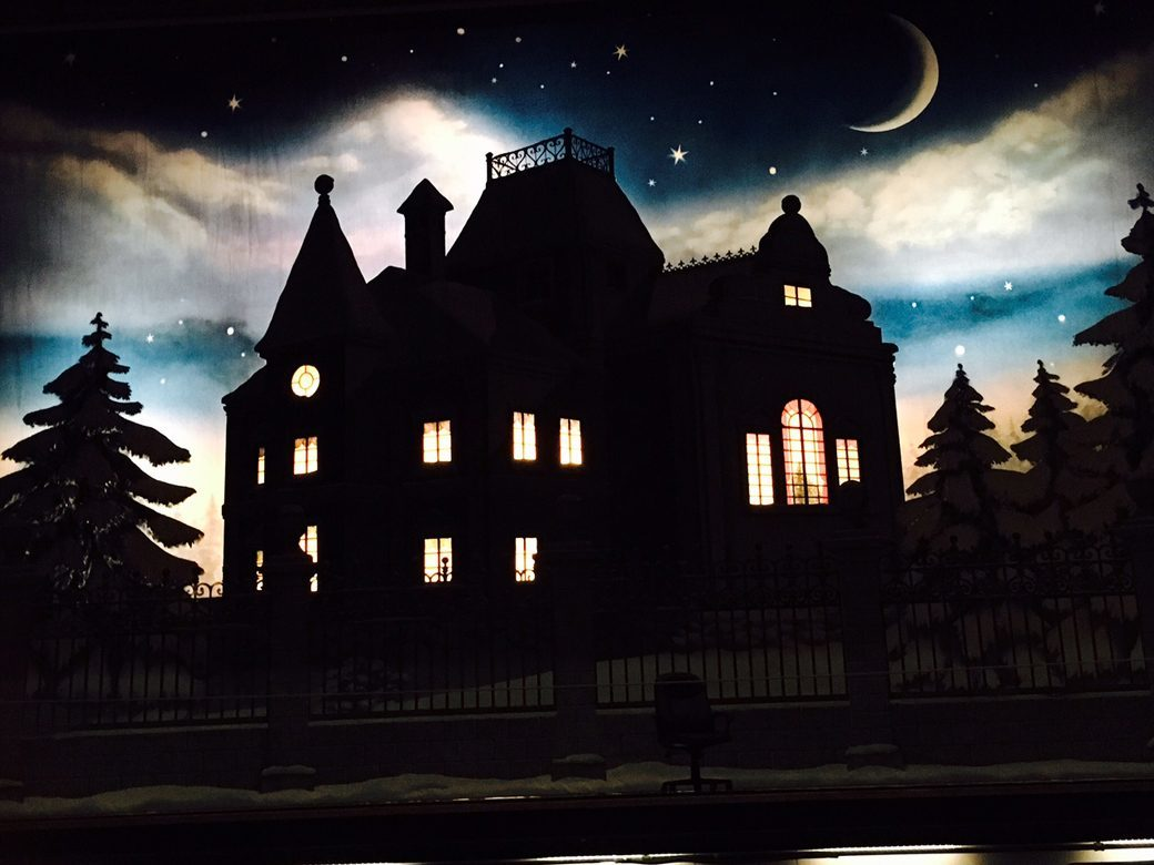 mansion under severe backlight