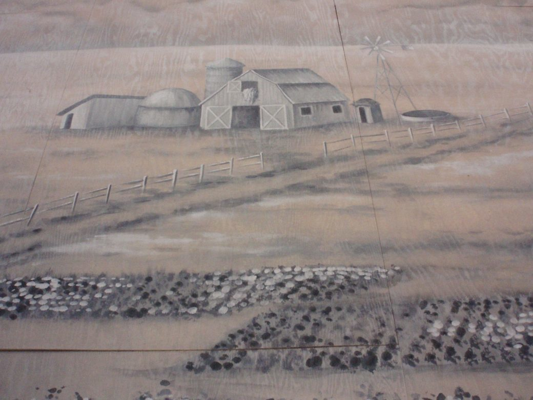 Bard Summerscape, Oklahoma wall mural detail. painted on plywood